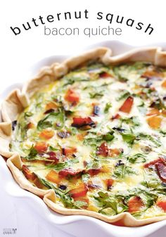 This Butternut Squash, Arugula and Bacon Quiche recipe is simple to prepare, and full of the most amazing combination of flavors. A definite breakfast treat.