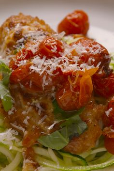 Skillet Chickenless Parm or Eggplant Parm. Serve with zucchini noodles for a low carb dinner