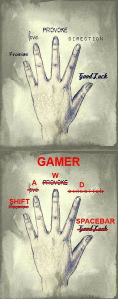 Gamers will know This this and a thousand times this. Sorry, console gamers, I love you guys with all my heart, but the Boss is a PC gamer for life. Video Game Memes, Geek Culture, Funny Games, Videogames, Nerdy, Funny Pictures, Geek Stuff, Jokes, Fingers