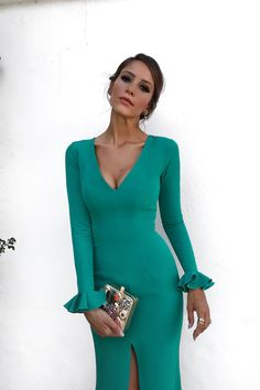 Emerald Green Long Sleeves Mermaid Evening Dress with Slit 2018 Sexy Evening Dress, Mermaid Evening Dresses, Formal Evening Dresses, Elegant Dresses, Cute Dresses, Beautiful Dresses, Emerald Dresses, Casual Chique, Couture Fashion
