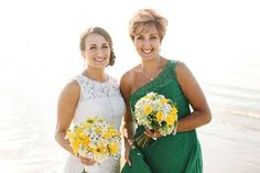 Green bridesmaid dress - one shoulder green bridesmaid dress + yellow and white bouquet {Lena Mirisola Photography}