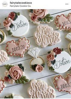 Wedding Shower Cookies, Wedding Cake Cookies, Birthday Cookies, Bridal Shower, Fondant Cookies, Royal Icing Cookies, Cupcakes, Engagement Cookies, Anniversary Cookies