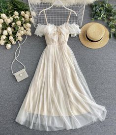 Cute champagne tulle dress summer dress Cute Casual Outfits, Pretty Outfits, Pretty Dresses, Stylish Outfits, Beautiful Dresses, Casual Dresses, Teen Fashion Outfits, Fashion Dresses, Emo Fashion