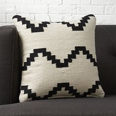 "Free Shipping.  Shop zbase 16"" pillow with down-alternative insert.   Cotton yarn weaves a graphic interpretation of a traditional kilim pattern.  Bold design with neutral palette perfectly layers with almost any decor."