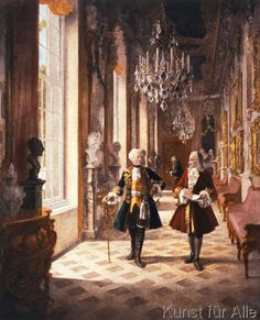 Georg Schöbel: Frederick the Great and Voltaire. Art Print, Canvas on Stretcher Friedrich Ii, Germany And Prussia, Frederick The Great, Seven Years' War, Age Of Empires, Alternate History, Historical Art, Ad Art, Victorian Art