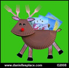 "These ""Paper Plate Reindeers"" would look cute on a Christmas or winter themed bulletin board display."
