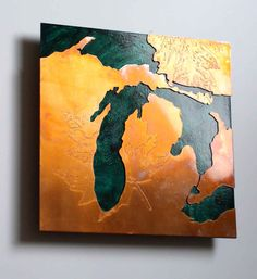Copper Map Art of Michigan copper on green by CopperLeafStudios,Etsy Michigan Wolverines, State Of Michigan, Detroit Michigan, Northern Michigan, Lake Michigan, The Mitten State, Copper Art, Great Lakes, Making Ideas