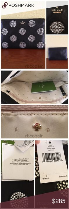 """Kate Spade This beautiful kate spade """"Carley Evening Belles"""" lambskin clutch is simply luxurious with crystal embellished circles on the front. The hardware is 14k gold plated. The jacquard is cream colored with small glitter spade and circles throughout and 1 large zip compartment and a medium slip pocket. The bag has a frame close. Width: 10.3"""", Height: 6.9"""" No trades. kate spade Bags Clutches & Wristlets"""