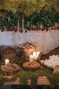 Woodland wedding dessert table   Siempre Weddings   See more: http://theweddingplaybook.com/design-file-whimsical-garden-wedding-reception/