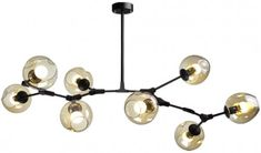 czarna- duża lampa wisząca 8przezroczystych kloszy Chandelier, Ceiling Lights, Lighting, Home Decor, Homemade Home Decor, Decoration Home, Light Fixtures, Room Decor, Chandeliers