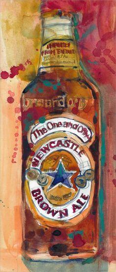 Newcastle Brown Ale  Beer Art Print from Original by dfrdesign