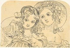 Rodolphe Bresdin | Study of Young Girls | The Met    Study of Young Girls    Artist:Rodolphe Bresdin (French, Montrelais 1822–1885 Sèvres)  Medium:Pen and black ink  Dimensions:2 13/16 x 4 in. (7.1 x 10.2 cm)  Classification:Drawings