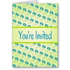 Pretty Blue Floral Design Invitation Greeting Cards