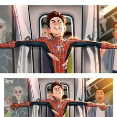 The famous train scene. The epitome of Peter's strength and selflessness. Marvel Dc Comics, Marvel Fan Art, Marvel Heroes, Marvel Avengers, Spiderman Marvel, Noragami, Neko Girl, Spiderman Kunst, Amazing Spiderman