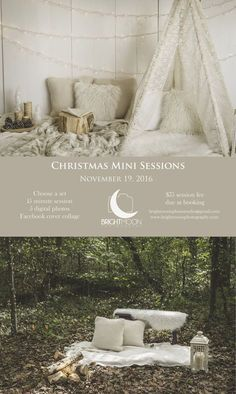 It's October, which means it is time to book your Christmas Mini Session! These sessions are perfect for sending out beautiful custom Christmas cards to your friends and family! Don't miss this opportunity as this session is only available on November 19th, and I am not able to book any full family sessions until January.  I'm looking forward to being a part of your holiday preparations! The woods set has the best light during the morning until 10am and in the evening until sunset, whi...