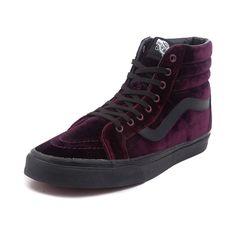Vans Sk8 Hi Velvet Skate Shoe - Burgundy - 497185