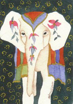 Elephant aceo watercolor RAJ giclee PRINT by Whitedogwatercolours