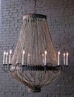 """Luigi Chandelier rusted black iron and rope; 3 ft. chain; made to order, please allow 8 weeks - 8 or 12 Light; 8 LIGHT - 38"""" high x 36"""" diameter  $1825.00 
