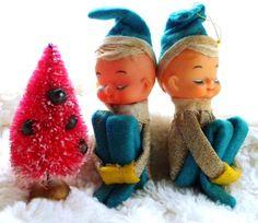 Vintage Christmas Elf Pixie Knee Hugger Sleeping by PaperParticles