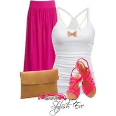 Hot Pink/ Long Skirt Outfit