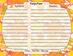 """Downloadable 4 X 6""""Harvest Recipe Card Harvest Recipe, Food Names, Recipe Cards, Ecommerce Hosting, Prepping, Holiday, Recipes, Vacations, Recipies"""