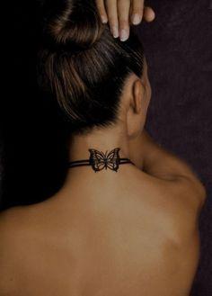 Butterfly Collar Neck Tattoo : TattooDesigns24.com