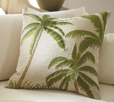 Three Palms Embroidered Pillow Cover #potterybarn