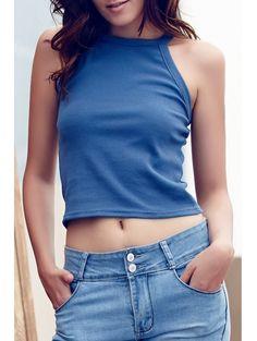 Round Collar Solid Color Tank Top #womensfashion #pinterestfashion #buy #fun#fashion