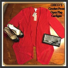 CHICO'S Crochet & Open Front Red Cardigan. Size 1. Gorgeous CHICO's Cardigan for cool weather or air conditioning. Intricate crochet work in front with low dipping front points. Exquisite! NWT. Chico's Sweaters Cardigans