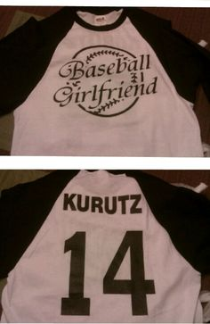 Baseball shirt with my boyfriends name and number on it