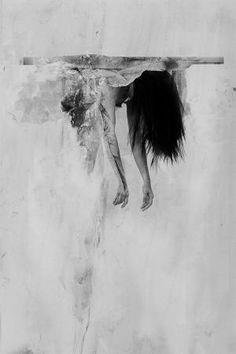 Sometimes life is unfair, black and white art, sad girl, wall art Art Sketches, Art Drawings, Sad Art, Art Abstrait, Photo Manipulation, Figure Drawing, Oeuvre D'art, Art Photography, Street Art