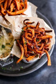 Skinny Tandoori Butter Sweet Potato Fries w/Creamy Baked Harissa Feta
