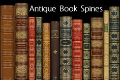 Ad: Antique Book Spines by Blue Line Design on 65 Unique Antique Book Spines. Each book spine is a separate image allowing you to arrange them in any way. File sizes vary, but images Books Decor, Books Art, Business Brochure, Business Card Logo, Decoupage, Medieval Books, Canson, Book Spine, Script Type