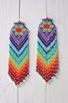 Native american beaded earrings, style Beadwork, native style earrings, indian