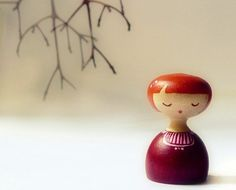 Wooden art doll hand painted