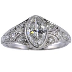 Art Deco Marquise-cut Diamond Ring at Marquise Cut Diamond Ring, Art Deco Diamond Rings, Diamond Jewelry, Diamond Cuts, Diamond Brooch, Jewelry Rings, Deco Engagement Ring, Vintage Engagement Rings, Vintage Rings