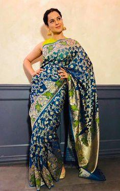 kangana ranauth in blue Benares silk saree with floral design Saree Wearing Styles, Saree Styles, Trendy Sarees, Stylish Sarees, Indian Silk Sarees, Indian Beauty Saree, Indian Dresses, Indian Outfits, Indian Attire