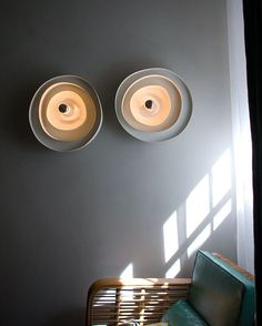 Wall mounted lighting fixture by PSLAB. Is it just us, but do they remind you of ceramic plates? In a good way, of course!