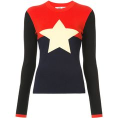 Dvf Diane Von Furstenberg intarsia star jumper found on Polyvore featuring tops, sweaters, red, diane von furstenberg sweater, color block sweater, print sweater, long sleeve sweater and star sweater