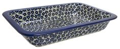 """9.75"""" x 15"""" Rectangular Baker (Floral Revival Blue) from The Polish Pottery Outlet"""