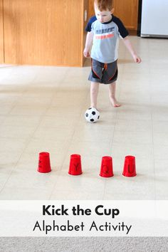 Theme Alphabet Activity: Kick the Cup This kick the cup alphabet activity is perfect for your ball theme lesson plans!This kick the cup alphabet activity is perfect for your ball theme lesson plans! Motor Skills Activities, Letter Activities, Gross Motor Skills, Literacy Activities, Preschool Activities, Toddler Gross Motor Activities, Physical Activities For Kids, Teaching Resources, Educational Activities For Toddlers