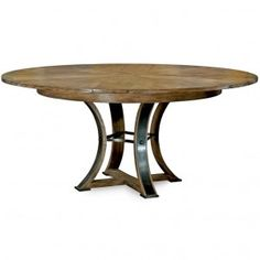 Jupe Dining Table with Metal Base, Gray Oak Wooden Top 78122 is part of Round Living Room Chairs - Transitional jupe dining table with metal base and gray oak wood top This round table has hidden self storing leaves that open this table to a larger round Round Wood Dining Table, Dining Table Chairs, Kitchen Tables, Expandable Round Dining Table, Table Bases, Round Kitchen, Table Legs, Kitchen Decor, Calgary