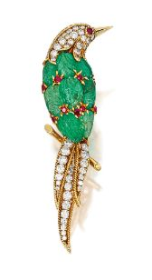 "Carved emerald, ruby and diamond ""Bird"" brooch, Van Cleef & Arpels"