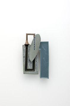 "Joohee Han    ""The street szene of"" brooch ""hidden space"" resin, thread, brass 2011"