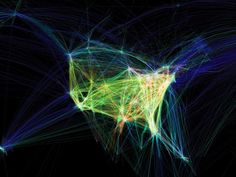 "Flight patterns over North America by Aaron Koblin as part of Businessweek's ""The 21 Heroes of Data Visualization""."