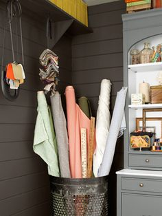 I want a bunch of these bins for my the fabric storage in my new studio!! Creative Home Office - House of the Year 2012 - Country Living