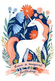 Unicorn Birthday Cards, Birthday Wishes Cards, Birthday Greeting Cards, Birthday Fun, Birthday Greetings, Unicorn Illustration, Illustration Art, Birthday Card Template, Happy B Day