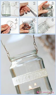How to hang mason jars with wire. There are so many crafts with mason jars on Pintrest, I guess I should learn how to hang them. Diy Wedding Projects, Easy Diy Projects, Craft Projects, Crochet Projects, Outdoor Projects, Craft Ideas, Mason Jar Lanterns, Hanging Mason Jars, Jar Candles