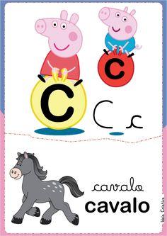 Alfabeto Ilustrado Peppa Pig e George para Imprimir Grátis