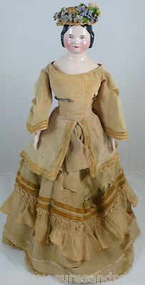 """18"""" ANTIQUE--1840s--SOPHIA SMITH--CHINA HEAD DOLL--PINK LUSTER"""